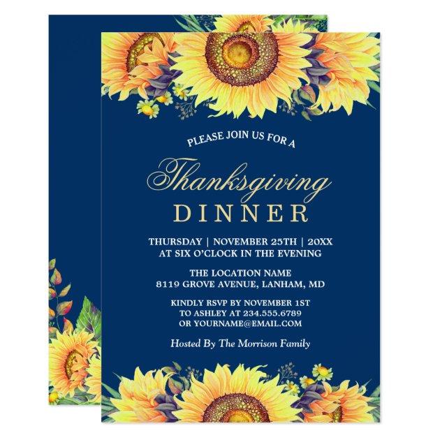 Navy Blue Rustic Sunflowers Thanksgiving Dinner Card