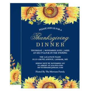 Navy Blue Rustic Sunflowers Thanksgiving Dinner Invitation
