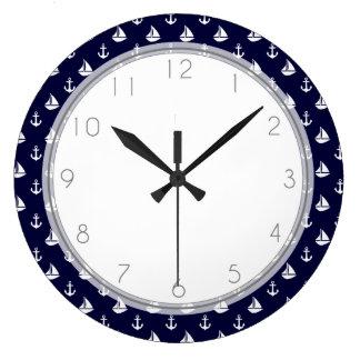 Navy Blue Sailboats and Anchors Pattern Large Clock