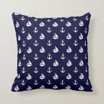 Navy Blue Sailboats and Anchors Pattern Throw Pillow