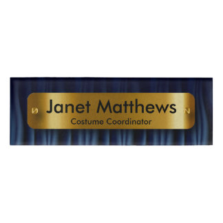 Navy Blue Satin Ribbon with Gold Label Plate Name Tag