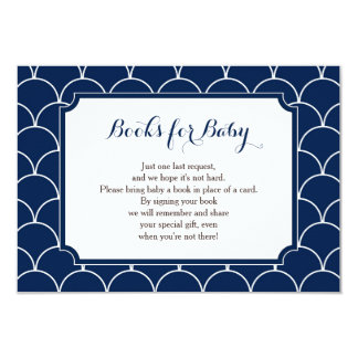 Navy Blue Scallop Books for Baby Insert Card
