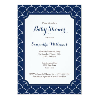 Navy Blue Scallop Pattern Baby Shower 5x7 Paper Invitation Card