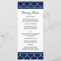 Navy Blue Scallop Pattern Slim Dinner Menu