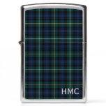 Navy Blue Scottish Plaid Clan Campbell Monogram Zippo Lighter