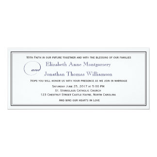 Navy Blue Script Christian Wedding Invitation