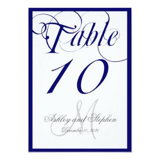 Navy Blue Script Monogram Wedding Table Number 5x7 Paper Invitation Card
