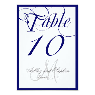 Navy Blue Script Monogram Wedding Table Number Card