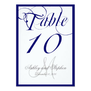 Navy Blue Script Monogram Wedding Table Number 5x7 Paper Invitation Card