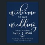 "Navy Blue Script Nautical Wedding Welcome Sign<br><div class=""desc"">Stylish wedding sign featuring white modern calligraphy on navy blue background. This design is available in a variety of colors and script style.</div>"