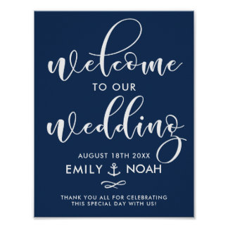Navy Blue Script Nautical Wedding Welcome Sign