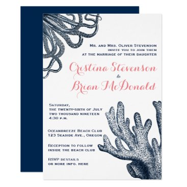 Beach Themed Navy Blue Sea Creature Nautical Wedding Invitation