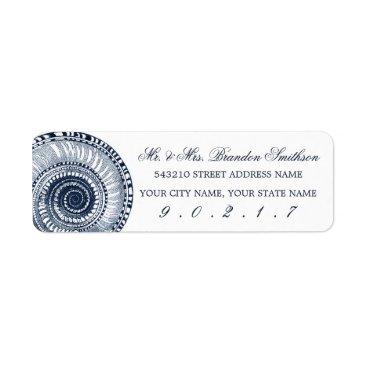 beckynimoy Navy Blue Sea Shell Address Label