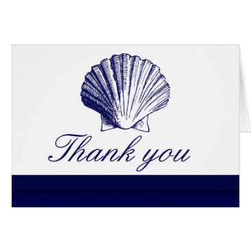Beach Themed Navy Blue Sea Shell Thank You Note Cards