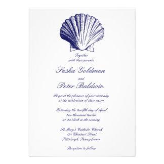Navy Blue Sea Shells Wedding Invitation