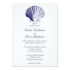 Navy Blue Sea Shells Wedding Invitation 5