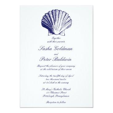 Beach Themed Navy Blue Sea Shells Wedding Invitation