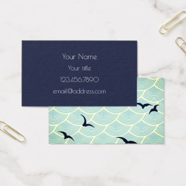Professional Business Navy Blue, Seagulls Business Card