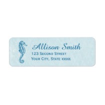 Navy Blue Seahorse Beach Return Address Labels