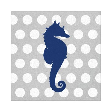 Beach Themed Navy Blue Seahorse Gray and White Polka Dots Canvas Print