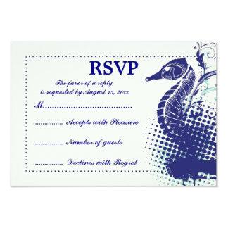 Navy blue seahorse on ivory summer wedding RSVP 3.5x5 Paper Invitation Card