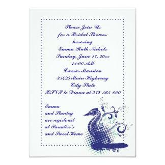 Navy blue seahorse on ivory wedding bridal shower 5x7 paper invitation card