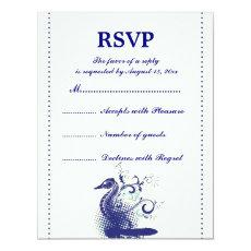 Navy blue seahorse on ivory wedding RSVP card 4.25