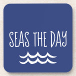 """Navy Blue Seas the Day Waves Nautical Beverage Coaster<br><div class=""""desc"""">Simple but true,  this Navy Blue Seas the Day Waves Nautical drink coaster set is the perfect way to bring the sun and sand into your home without the mess. Great gift for any sailor or beach lover for either their beach house,  the boat,  or their main home.</div>"""