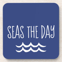 Navy Blue Seas the Day Waves Nautical Beverage Coaster