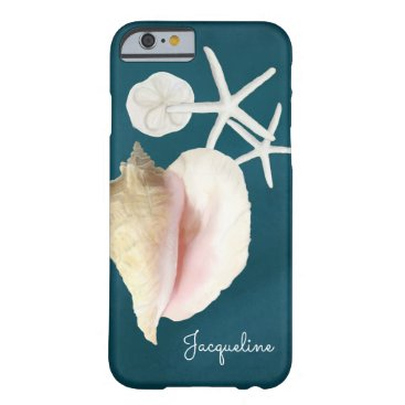 Beach Themed Navy Blue Seashell Modern Beach Conch Starfish Barely There iPhone 6 Case