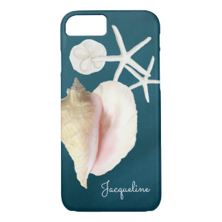 Navy Blue Seashell Modern Beach Conch Starfish iPhone 7 Case