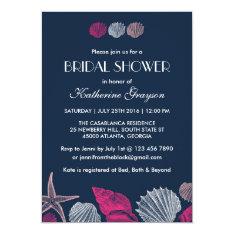 Navy Blue Seashells Invitation for Summer Wedding at Zazzle