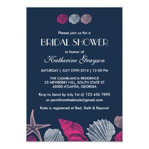 Navy Blue Seashells Invitation for Summer Wedding 5
