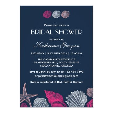 Beach Themed Navy Blue Seashells Invitation for Summer Wedding