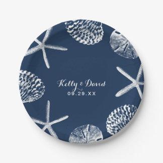 Navy Blue Seashells Summer Beach Wedding Paper Plate