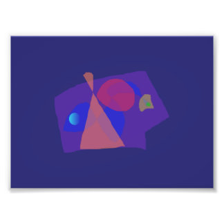 Navy Blue Serious Face Abstract Painting Photo Print
