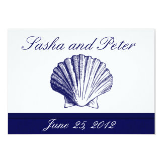 Navy Blue Shell Beach Wedding Invitations