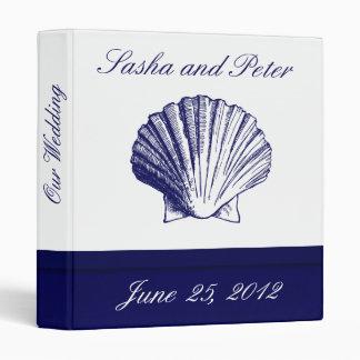 Navy Blue Shell Wedding Planner Vinyl Binder