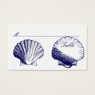 Navy Blue Shells Wedding Reception Seating Cards