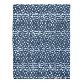 Navy Blue Shibori Geometric Tessellation Duvet Cover