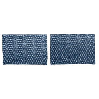 Navy Blue Shibori Geometric Tessellation Pillowcase
