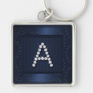 Navy Blue Shimmer and Sparkle with Monogram Keychain