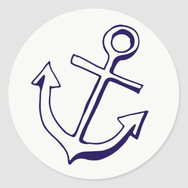 Navy Blue Ship Anchor Nautical Wedding Party Classic Round Sticker