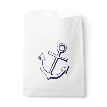 Beach Themed Navy Blue Ship Anchor Nautical Wedding Party Favor Bag