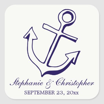 Navy Blue Ship Anchor Nautical Wedding Square Sticker