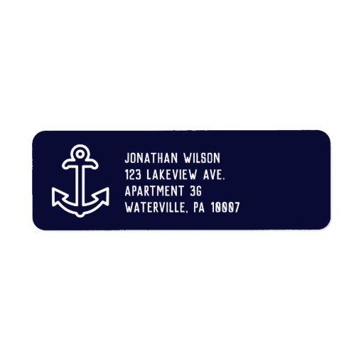 Navy Blue Ship Anchor Return Address Labels