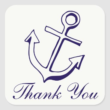 Navy Blue Ship Anchor Thank You Nautical Wedding Square Sticker