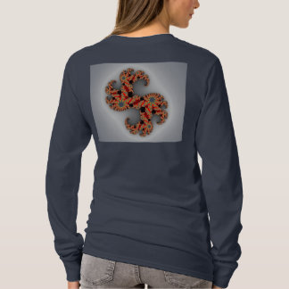 Navy Blue shirt with design on back.