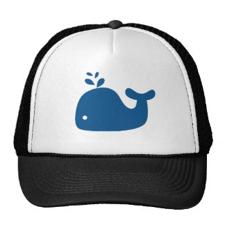 Navy Blue Silhouette Whale Mesh Hats
