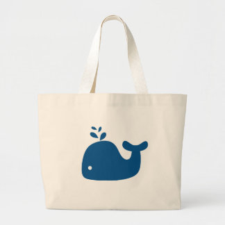 Navy Blue Silhouette Whale Large Tote Bag
